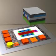 Vista in sezione di un transistor MOS in Realtà Aumentata
